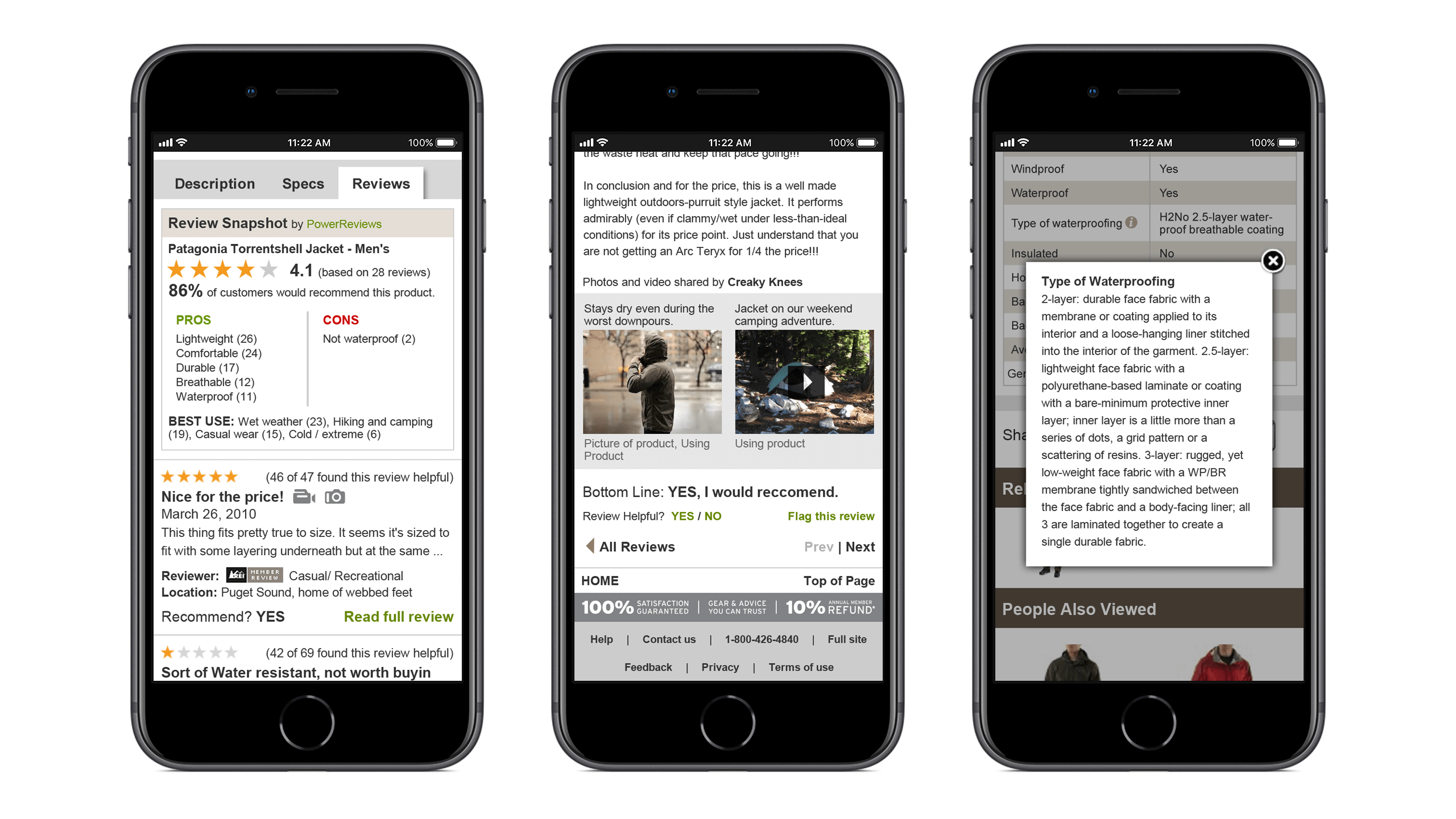 Selected features from the REI product detail page redesign including the review overview, user-submitted review content, and Spec tool-tip, shown on three iPhones, UX interaction design Courtney Comfort