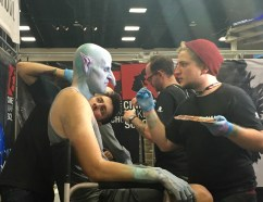 "Winner of the SyFy show ""Face Off"" doing some makeup on the spot."