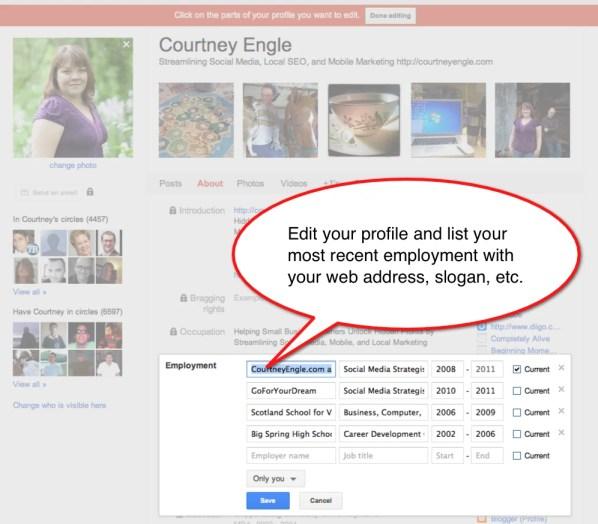 Google Plus Hovercard Slogan