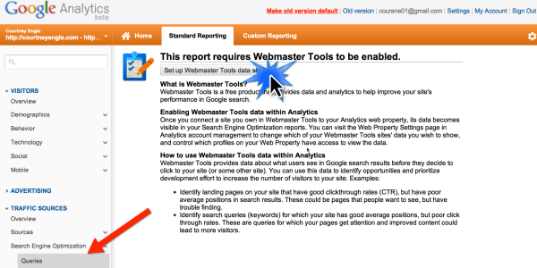 Google Analytics Webmaster Tools