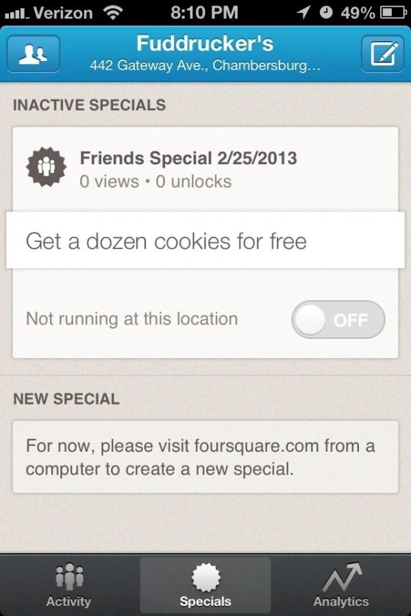 Foursquare Special on Mobile