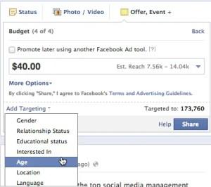 facebook offer targeting
