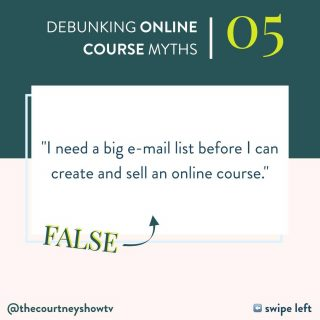 """Not only do you NOT need a big e-mail list to create and launch an online course — having one before you create your course is kind of counterintuitive. Which sounds counterintuitive, just saying that. SO, hop on this train and take this journey with me because we have a lot to unpack — and lots of metaphors to mix up 😂 Backstory: I got started in the local, service-based world, i.e., one business model... only to find out when I jumped into the online business world that the """"prevailing wisdom"""" was essentially the opposite of what I'd done. In pretty much every other business model, you create the product or service, THEN you go out + find the people who need that thing — not the other way around. After all, you don't sell tickets to a movie, find the theater, then make the movie 👉 You make the movie, find the theater, then sell tickets. You don't create in a vacuum with no outside input, but you definitely don't sell tickets to a movie that doesn't even have a screenplay yet. Such should be the case with your online course: create it, then find the people who need it BY selling it. The very things you'd use to sell your course — a webinar, challenge, etc.— are the very things that will grow your list the fastest + fill them with the best leads. Then, your promotional event does the heavy-lifting of nurturing, priming + pitching to that lead. *chef's kiss* You might not have an audience to invite to your webinar (or whatever you do), but with the same time + energy you'd spend growing your list + audience in other ways — creating content, creating opt-in freebies, networking, DM-ing, engaging — you can use that to fill your webinar or challenge, therefore growing your list + (eventually/quickly) your revenue. Truly, you can + absolutely should grow your list + sell your course. At the same time. 100%. You👏do👏not👏need👏a👏list👏to👏launch — just a product — your course 😉 P.S. Want more? This is just the tip of the iceberg. Check out my free class where I talk even more """