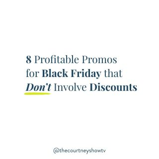 {Sound ON} Swipe left for 8 profitable promo ideas for Black Friday that *don't* involve offering a discount. 👀 You're welcome 😉 Why Black Friday? And why no discounts? There's no disputing it: This is the busiest shopping season of the year, but the extra boost in business isn't just for the big box retailers and products-based businesses; it can happen for any type of business or niche—*if* you have a plan. Also, your Black Friday offer can be the gateway to all of your other offers and benefit your business, long after your promo period. BUT all of that doesn't have to be accompanied by a discount. In fact, it shouldn't. When you discount something, you lower its perceived value—not just during that promo period, but beyond then, too. Besides, there are so many OTHER, more creative ways to incentivize your customers to take action. In fact, I've put together 8 ways 😉 So, don't drop the price; raise the VALUE. Then, turn on your sound and swipe left for all 8 discount-free, profitable promos. ⬅️ Best of all, you can put most of these together in an afternoon. Don't forget to save this post for later. 😉