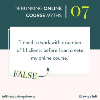 This is one of the biggest stall tactics, er—*myths* that I hear when someone is waffling on creating their course. 😉 But here's the thing: There is no magic number of 1:1 clients you need before you can venture into creating and launching an online course. You don't need any at all, really. Is it helpful to test out some of your theories + refine some of your frameworks in a 1:1 relationship first? Sure. It can be. But necessary? No. And you definitely don't need some made-up number of 1:1 clients. There's no number-related benchmark that shows: Yay! You've got it! Now, you can scale this thing into a course! There *is* a benchmark, but it's not about numbers at all — not email list, audience size, client base, or any kind of quantity thing. It has way more to do with this: 👉 If you find yourself repeating yourself and reiterating yourself, record yourself and remove yourself. You can do 1:1 work forever or ditch it as soon as you launch your course... or never do it at all. BUT if you find you're constantly repeating yourself w/ 1:1 clients or in Facebook groups or when someone