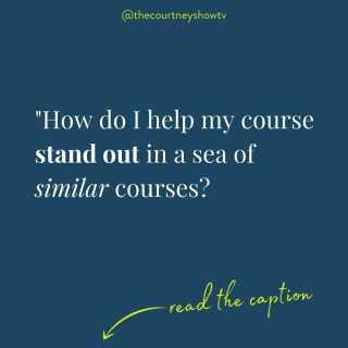 """""""How do I help my course to stand out in a sea of similar courses?""""  This question pops up in my inbox at least once a day. The answer?  By focusing on not simply teaching on a *topic* but facilitating a *transformation.*  Examples:  Topic: Facebook marketing for business owners One possible transformation (these can go in lots of different directions): """"You'll learn how to optimize Facebook to double your likes and triple your traffic so you can boost your business in one month.""""  Topic: Productivity Transformation: """"I'm going to help busy moms establish repeatable routines within two weeks around their most important daily and weekly tasks.""""  Topic: Dog training Transformation: """"Helping dog owners find harmony in their home by dramatically improving the walk in 14 days.""""  Topic: Etsy shop sales Transformation: """"You'll optimize your shop so you can double your traffic within 60 days.""""  Topic: Meditation Transformation: """"Helping 9-5ers find more peace and focus in the workday, one ten-minute meditation at a time.""""  Topic: Course creation Transformation: """"I'll give you access to the playbook of a multimillion dollar course company so you can create and launch your profitable online course in four weeks or less."""" (wink wink)  A course teaches someone something A good course helps someone learn something. A great course helps someone do something.  Or as William Butler Yeats best put: """"Education is not the filling of a pail, but the lighting of a fire.""""  When you shift your course from general topic but specific transformation, you've optimized your course for student success *and* sales. #winwin  Start off your course-outlining process by asking yourself:  """"What's a measurable, doable, accessible transformation I can facilitate for my student within about a month?""""  The more specific, the better, both with transformation and timeline.  Note: You're not making a guarantee, but rather giving them a reference.  A topic is just information — you want to create and sell a """