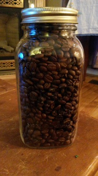 Here is some of the coffee I bought on Saturday in one of the many jars I was given by kind people. They are coming in handy!