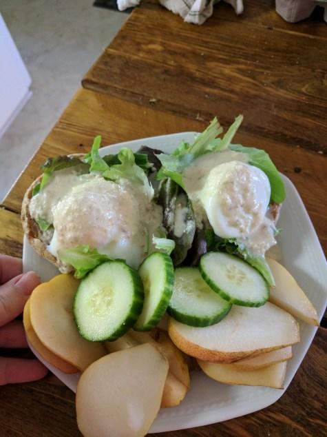 Healthy eggs benny on whole grain toast, so easy and so healthy