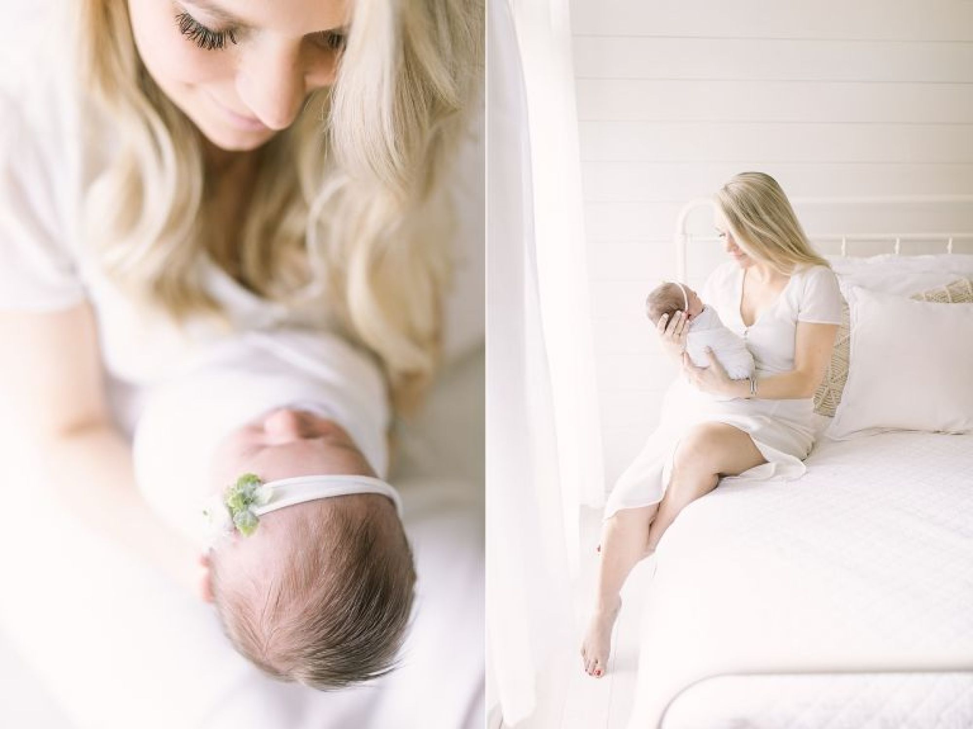 Newborn session with Mama and baby girl in Missouri City Newborn Studio. Photos by Courtney Griffin Photography.