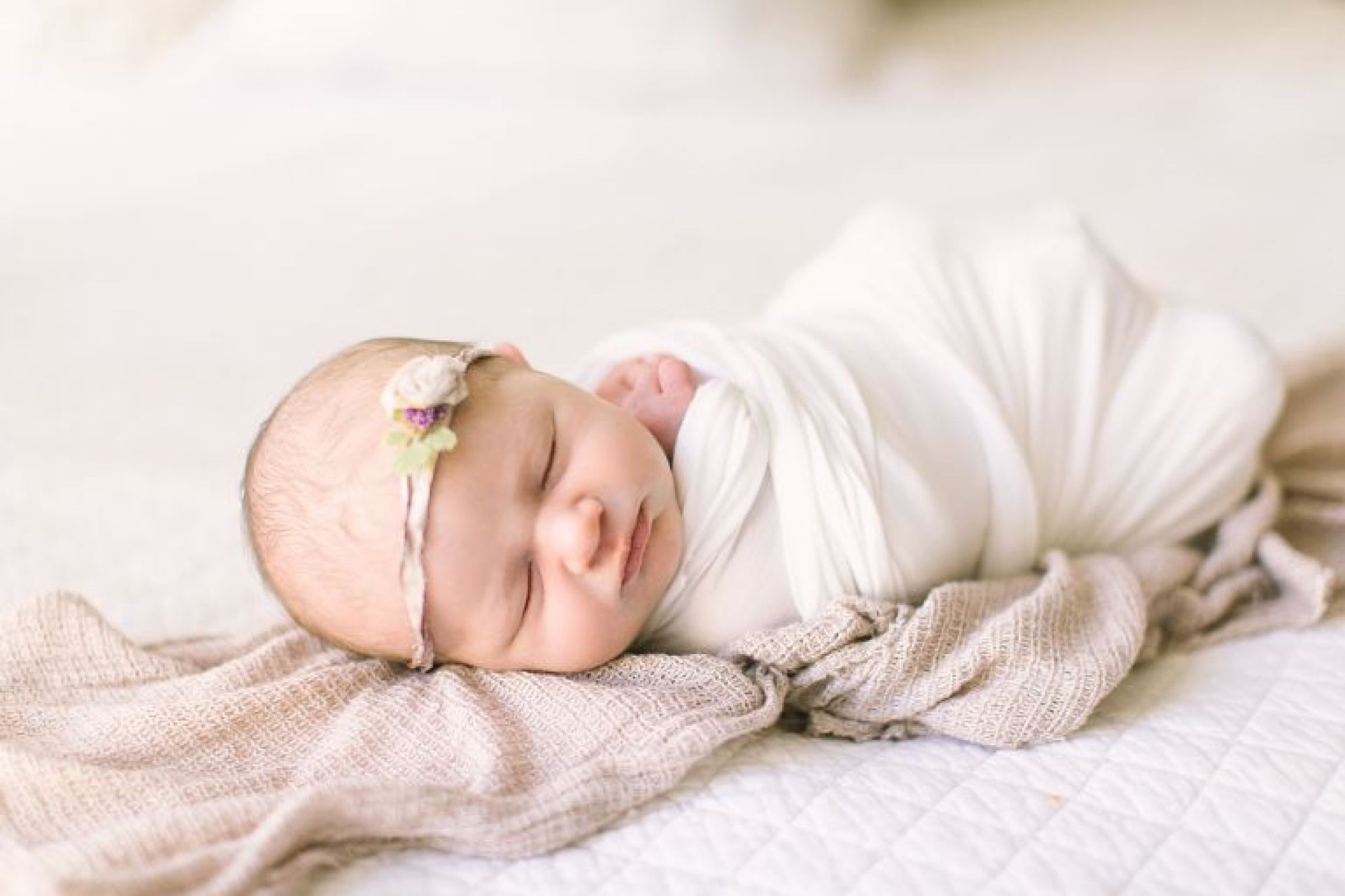 Baby girl newborn photoshoot in the studio in Missouri City, Texas. Photos by Courtney Griffin Photography.