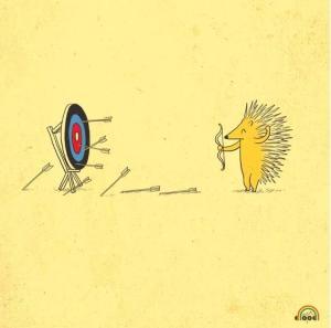 hedgehog shooting quills at target
