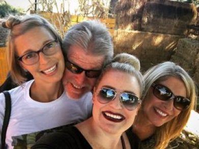 selfie of family of four