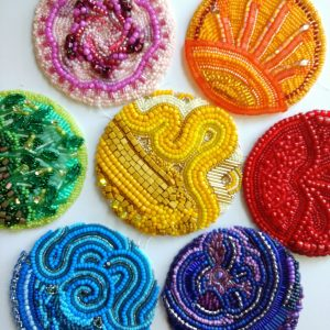 beaded circles in a variety of colors