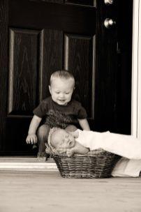 Regina Baby Photographer-Lucas Newborn-Present at the Door