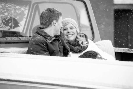Regina Engagement Photographer - Stephen & Sara - Back of Truck - BW