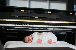 Newborn photo session with J Pramberger piano in Regina