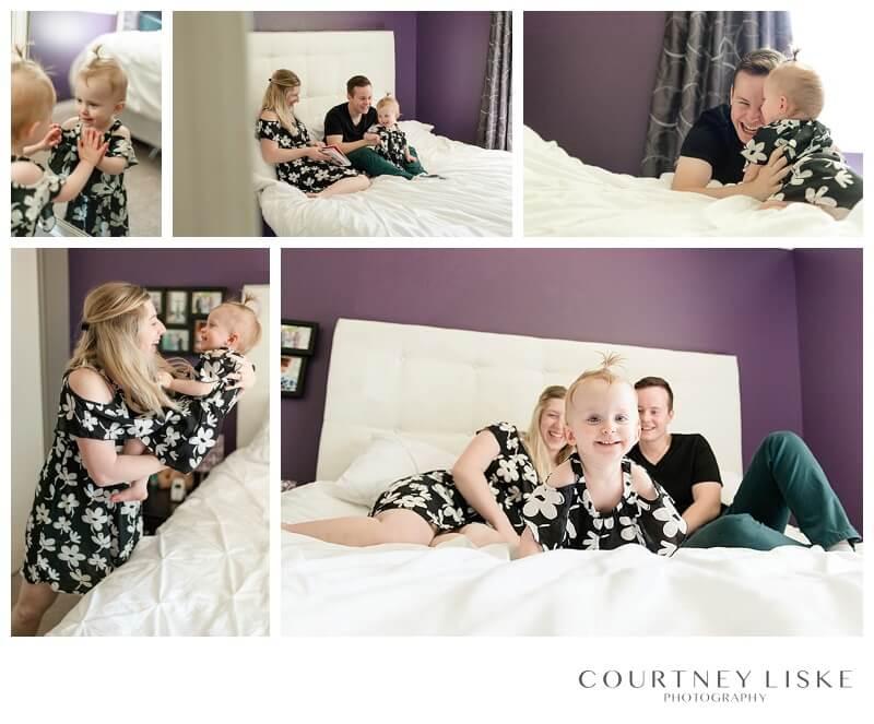 Hlushko Family - Courtney Liske Photography - Regina Family Photographer - In home session - Bed