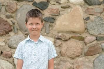 Little boy smiles near Regina Saskatchewan