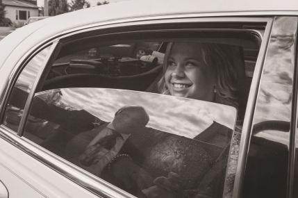 Regina Wedding Photographer - Sara in Limo - Dad Reflection