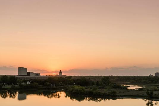 Sunset overlooking Wascana Park in Regina