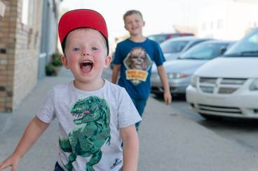 Two boys roaming the summer streets of Watrous