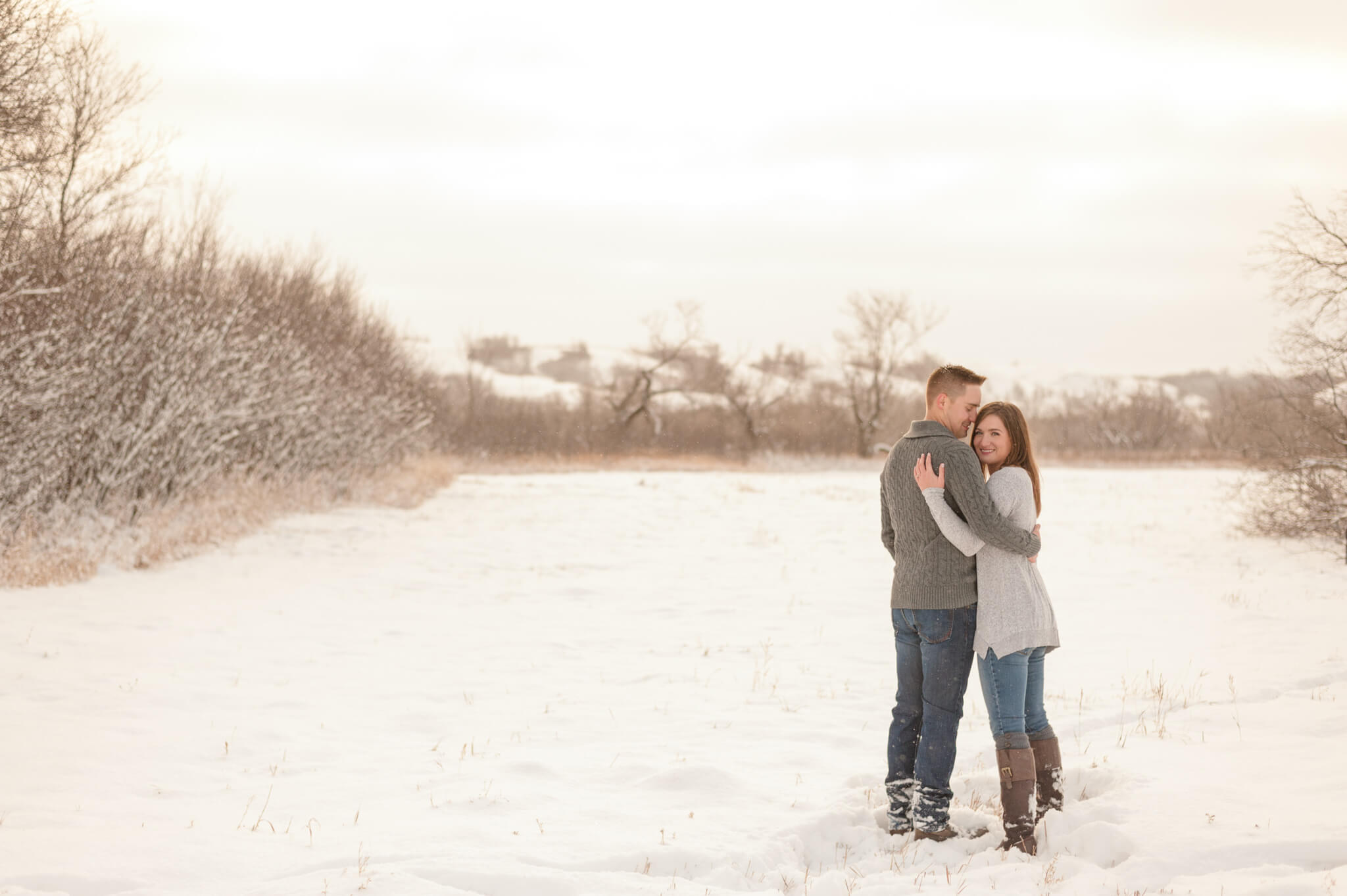 Couple at their engagement session in Lumsden Valley with Courtney Liske Photography