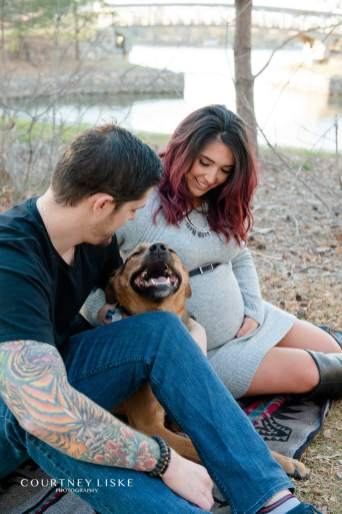 Shepherd dog smiling during maternity session