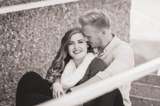 Regina Engagement Photographer - Evan-Chantel - Sitting on the stairs