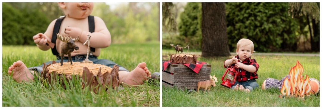 Regina Family Photography - Oliver is one - Lumberjack Cake Smash- Rotary Park