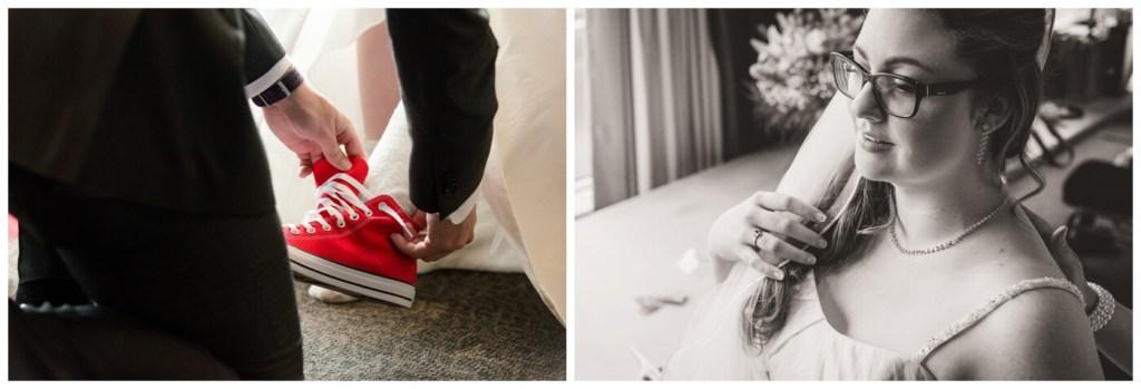 Regina Wedding Photographer - Tori - Bride Preparation - Chuck Taylor sneakers