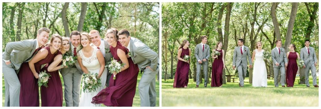 Regina Wedding Photography - Andrew-Stephanie - Bridal Party - Grey Suits - Wine Dresses