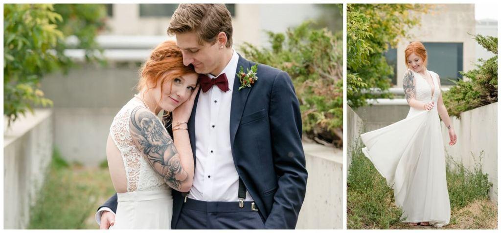 Regina Wedding Photographer - Cole-Alisha - Fall Wedding - Lace - Chiffon Wedding Gown - Navy Suit