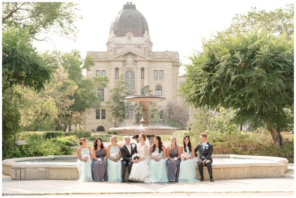 Regina Wedding Photographer - Gord-Mackenzie - Bridal Party - Trafalgar Fountain
