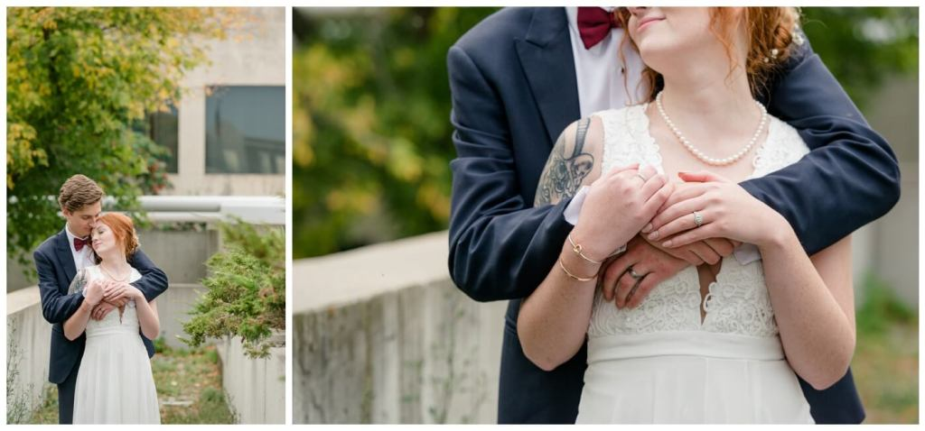 Regina Wedding Photographers - Cole-Alisha - Fall Wedding - Navy Suit - Lace - Chiffon Wedding Gown
