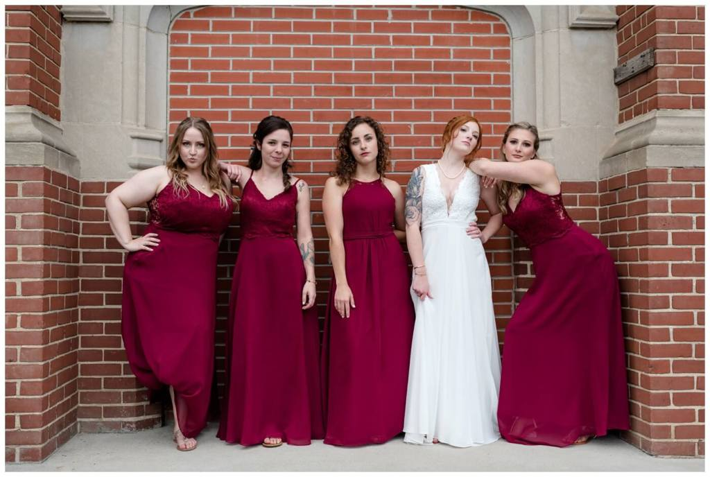 Regina Wedding Photographers - Cole-Alisha - Wine Bridesmaids Dress - Bridesmaids - Brick