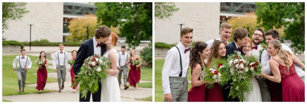 Regina Wedding Photography - Cole-Alisha - Fall Wedding - Bridal Party - CBC Building - Group Hug