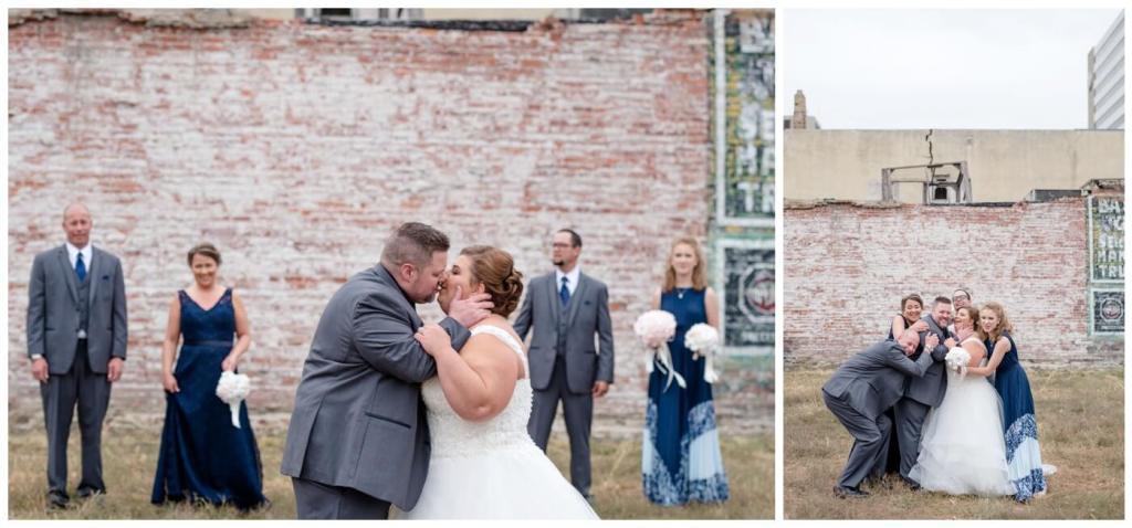 Regina Wedding Photographer - Scott-Ashley - Fall Wedding - Morilee gown - Madeline Gardner - Blue Lace - Grey Suits - Group Hug - Exposed Brick