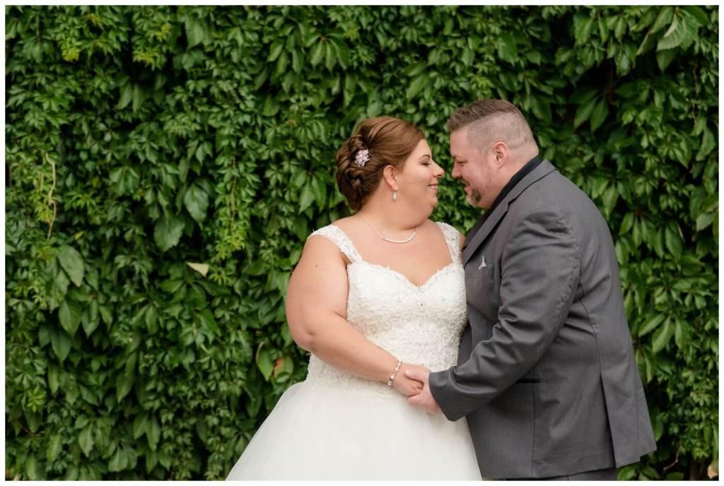 Regina Wedding Photographer - Scott-Ashley - Fall Wedding - Morilee gown - Madeline Gardner - Grey Suit - Living Green Wall