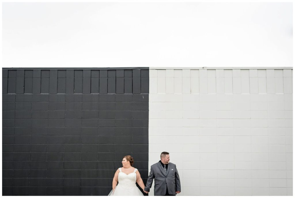 Regina Wedding Photographers - Scott-Ashley - Fall Wedding - Morilee gown - Madeline Gardner - Black & White Wall