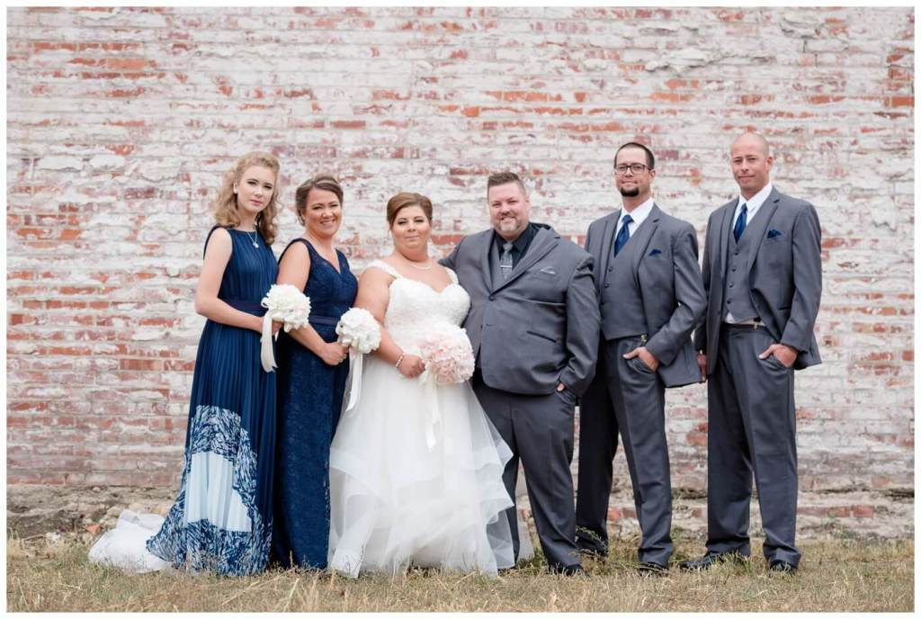 Regina Wedding Photography - Scott-Ashley - Fall Wedding - Blue Lace - Grey Suit - Exposed Brick