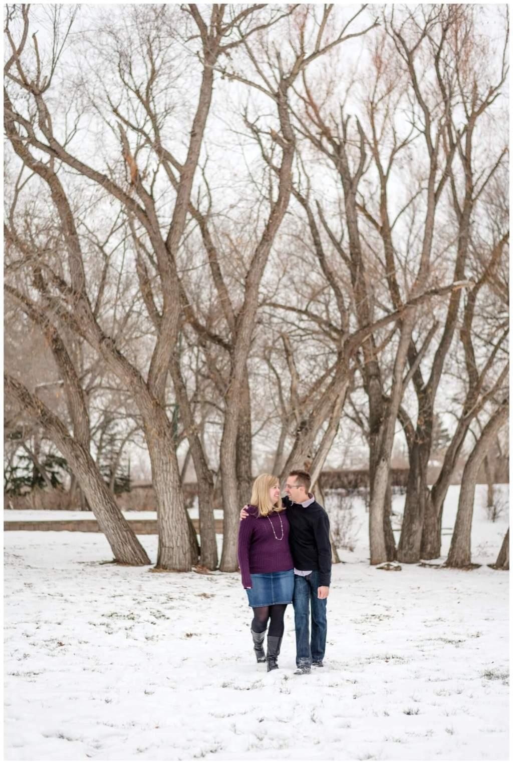 Regina Engagement Photographer - Dave-Sarah - Winter Engagement Session - Kiwanis Park Regina - Giant Trees - Snow
