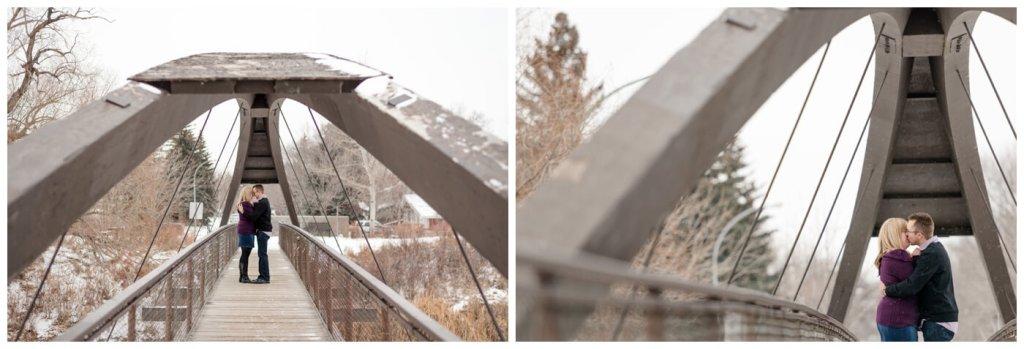 Regina Engagement Photographer - Dave-Sarah - Winter Engagement Session - Rotary Bridge Regina - Sweaters - Falling Snow
