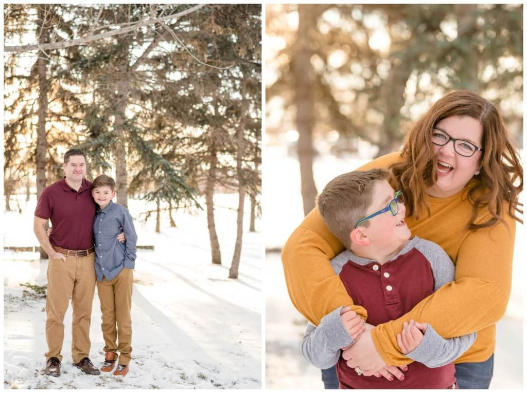 Regina Family Photographer - Goudy Family - Winter Family Session - Snow - Candy Cane Park - Mother hugging boy with glasses