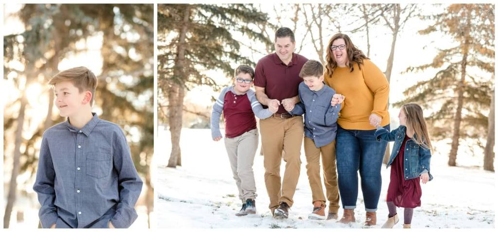 Regina Family Photography - Goudy Family - Winter Family Session - Snow - Candy Cane Park - Mustard Sweater - Denim Jacket - Wine Toddler Dress