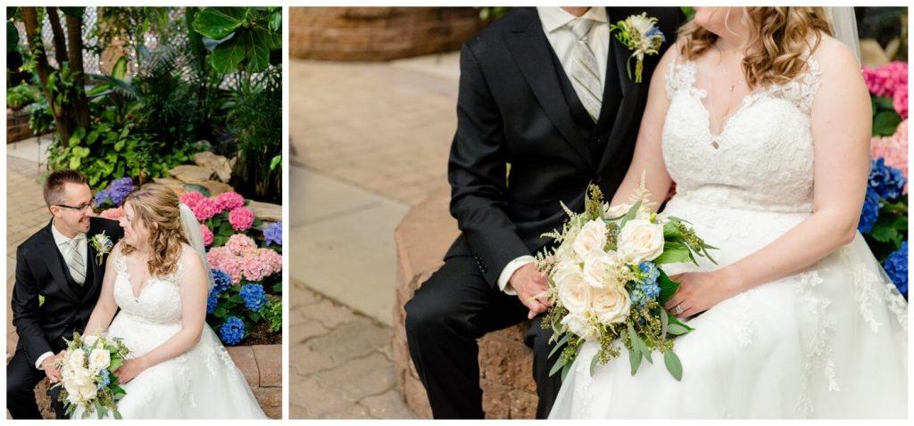 Regina Wedding Photographer - Dave - Sarah - Wedding - Regina Floral Conservatory - Bridal Portraits - White Roses - Blue Hydrangeas