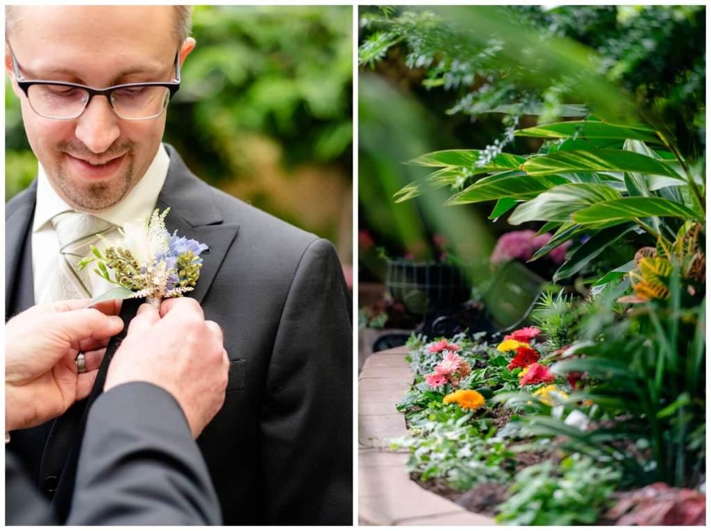 Regina Wedding Photography - Dave - Sarah - Wedding - Regina Floral Conservatory - Groom Boutonniere - Gerber Daisy - White Rose