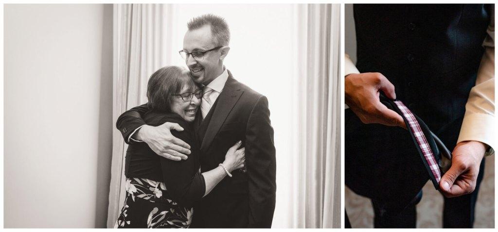 Regina Wedding Photography - Dave - Sarah - Wedding - Regina Wedding - Custom Suit - Son hugs mother