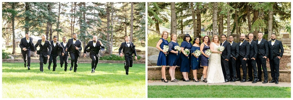 Regina Wedding Photography - Nishant - Corrina - Bridal Party Portraits - Bridesmaids in navy blue cocktail dresses - Groomsmen in black suits with gold bowties