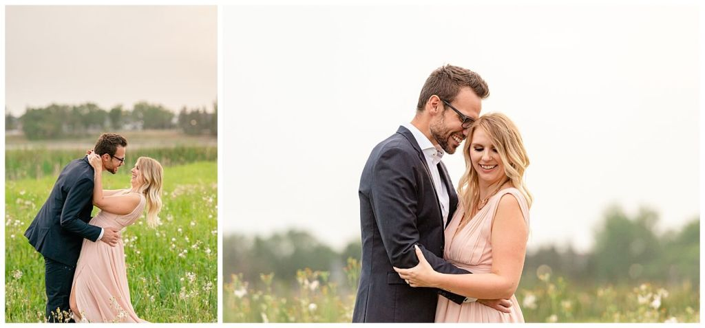 Regina Engagement Photographer - Engagement Session in Douglas Park Regina - Couple kiss in a field of tall grass at sunset - Blush chiffon dress