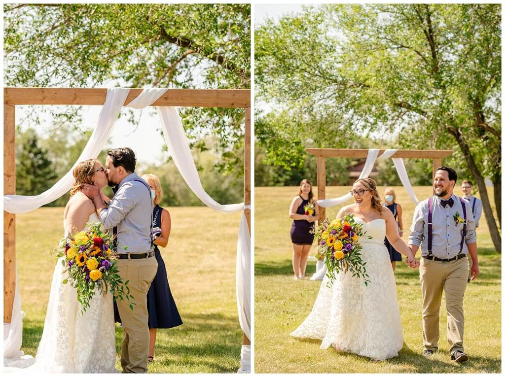 Regina Wedding Photographers - Ryan - Aeliesha - First kiss as husband and wife - AE Wilson Park